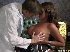Emma Butt is a smoking hot four-eyed nurse with bubble ass and huge boobs. She sucks doctors dick with her bottom up and then gives titty job he wont soon forget. Shes fucking horny!