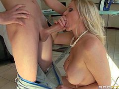 Huge titted MILF Julia Ann cant wait to get her totally smooth pussy banged hard. She seduces her step-son and enjoys his young hard dick in her vagina, She sucks like a pro and takes his sausage in her fuck box.