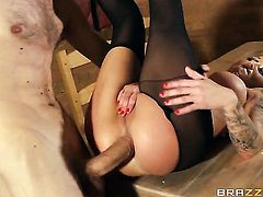 Danny D explores the depth of hot blooded Chantelle Foxs back yard with his ram rod