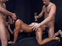 Sandra pleasures herself, when she is suprised by two men. Tom and Kevin come in, to ravish her mouth and ass. Who wouldn't want to destroy a perfect ass, like Sandra's? She is dripping wet for both these men.