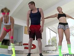 MILF Ashley Fires and teen Kennedy Leigh are hot ladies with sexy athletic bodies, They feel horny after doing exercises with hot guy, They get down on their knees and give his thick sausage a try!