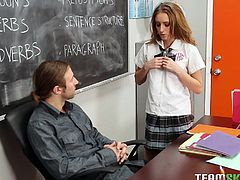 This dirty girl has a bright idea to make her grades go up. She gets down on her knees, to suck her teacher's cock, so he will give her a better grade on her math tests. The teacher is so horny, that he wants to teat her pussy and fuck her hard.