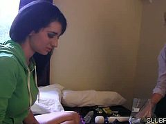 Andre Shakti and Arabelle Raphaelle feel a spark when they show ecah other their sex toy collections, in this 36 minute scene from Lesbian Strap-On Fantasies: Roommates With Benefits. When things get daring and the ladies start stripping, all shyness goes out the window. The busty brunette goes down on her roommate's strap on, before both girls get their turn being fucked... with roommates like this, who needs a lover?