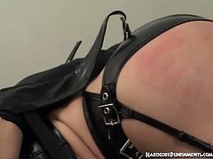 This oriental chick want to experience bondage for the first time and she wears a sexy leather suit and a fishnet stockings and got all tied up and toyed with a magic wand.