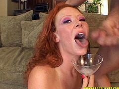 This horny sweetheart likes to take a huge cock in her mouth for a suck in a good blowjob and receives a hot cumshot load in the mouth.