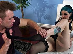 Tori looks so damn hot with her blue hair, tattoos and nylons. Her man deeply fingers her cunt and it makes her feel amazing. She wants more and she needs to feel his lips on her asshole, and his hands on her butt cheeks.