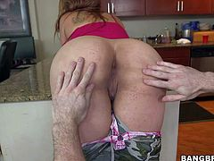 Naughty sexy Carmen Ross displays her big round ass and flashes her juicy pussy with her military outfit on and then gets her mouth filled with throbbing cock. This hot ass sexy is dick hungry!