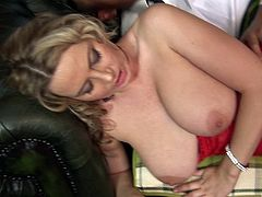 Sexy blonde porn sluttie Alexis May bounced hard to a horny hot man's dick