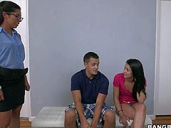 Young skinny girl Alaina Kristar with small boobs teams up with her juicy big boobed step-mother Sofia Rivera to make her insatiable thick dicked boyfriend cum. They eat and stroke his sausage together.