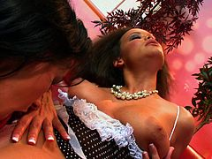 Smutty lesbian cowgirl gets her pussy licked then drilled with a toy