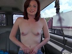 Cure red-haired girl next door Emma Evins takes off her t-shirt and poses topless during Bang Bus ride. Sweet girl with small natural boobs displays her really nice pink puffy nipples!