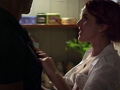 Erotic fuck in the kitchen with redhead and black dick