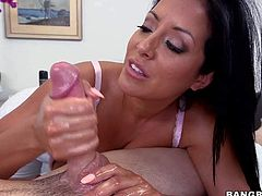 Wet and sexy MILF Kiara Mia demonstrates her gigantic oiled up jugs as she gives great cock massage from your point of view. Busty handjob slut knows what to do to make him ejaculate.