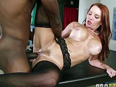 redhead milf has interracial sex