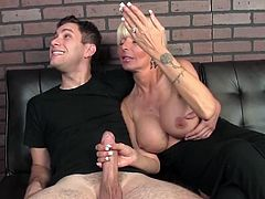 Visit official Cum Blast City's HomepageHorny blonde milf with huge boobs, Casey Storm, grabs guy's dick and starts playing with it until having jizz on her hard nipples