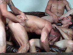Dirk, Trevor, Johnny and Asher had promised themselves a full-on orgy at once in a week. It was that time of the week again and man, did they perform! Watch these four hotties have each other's jizz, as they suck and fuck each other in a confused orgy. As you watch them, you'd wish you were sitting right there with them.