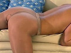Blonde tan pantyhose play