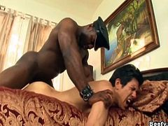 Black neighbor come over and anal fuck the white hunk, cock sucking beside the pool and later on, hard fucking in the bed. Great cum comes after the hot barebacking.