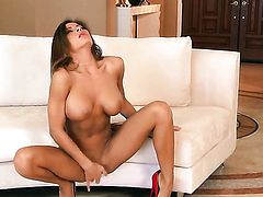 Madison Ivy with gigantic boobs and clean snatch touches her bush gently