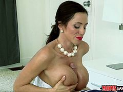Seductive milf in sexy lingerie gets pounded doggy style in a threesome
