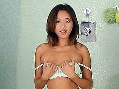 Asian hot babe Alina Li takes off her panties