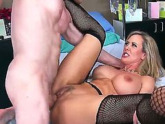 Mature doctor Brandi Love with huge tits gives it to her patient!