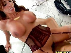 Chris Johnson plays hide the salamy with Brunette Ariella Ferrera with big jugs