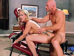 Hot bodied blonde MILF Simone Sonay with nice big hooters screams like crazy as she gets ehr pink wet pussy pounded doggy style by horny Johnny Sins in the middle of the room. Shes on the way to orgasm of her lifetime!
