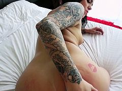 This naughty tattooed girl is in the tub, playing with her pussy, and it makes her so wet and horny, that she needs to get her lips around a big, juicy cock. Look at her suck and tug on the penis, like such a bad girl.