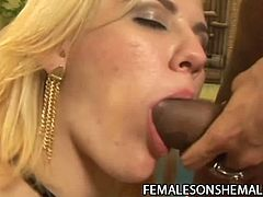 Ebony shemale Gyslene Rodrigues gets a hot babe sucking her dick before fucking her hard until orgasm.