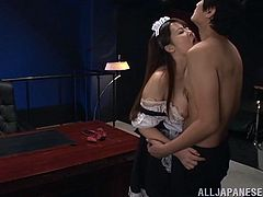 Tsugumi loves some cos play. It makes her hard and all ready for a fuck. Watch this Japanese whore lie down on the table top and do things, you would not have seen before. She loves to fuck and that's why she is doing here. The man fingers her tight little pussy and she moans with pleasure. This Japanese slut is sure to get a good drilling later.