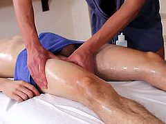 Joey Moriarty and Javier Cruz plays as a masseuse and a customer availing one oily lingam massage playing with that cock and balls before sucking and fucking.