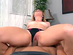 Young chick Taylor Whyte with natural tits rides dick in her tight shaved pink pussy with her black panties on from your point of view. She screams like crazy during cock riding. Watch  enjoy!