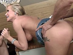 MILF Simone Sonay with fuckable bubble butt gets tag teamed