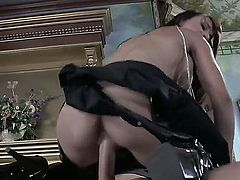 Brunette porn star Cytherea fucks Johnny Sins in the mansion