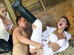 Ava Dalush and Victoria Summers are hot jockey girls who need sex badly.They get their tight wet holes banged by naked guy Ryan Ryder in the stables with their sexy uniform on. Nice CFNM threesome!