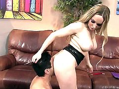 Hot bodied milf Aiden Starr is a domina with big boobs and juicy ass. Slave guy finds his nose between her big butt cheeks. She smother him and gets her hole tongue fucked from behind!