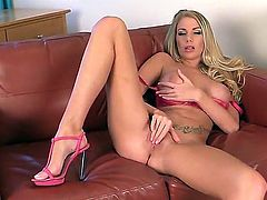 Big boobed babe in pink Danielle Maye plays with herself