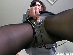 This sexy doc knows a thing or two about a sexy body. She pulls her beautiful natural tits out of her top and plays, and jiggles them around. She rubs her stethoscope against her crotch and sticks her hands deep in her nylon pantyhose, to rub her wet pussy. Look at how she bends over, to show off her cute butt.
