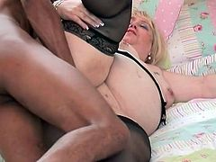 Fat old babe fucked by hard black cock