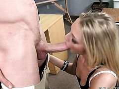 Tristyn Kennedy has some time to give some pleasure to hard cocked dude Jordan Ash
