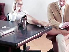Huge boobs office hottie Kathia Nobili in stockings stuffed