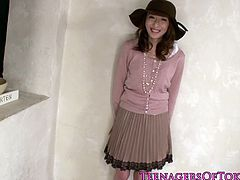 Kana Narimiya is a cute Japanese teen who gets banged in group and has her pretty face glazed with sperm after they are done messing around with her hairy pussy.
