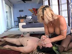 Anne can get very dirty and wild. The slutty milf has awaited the occassion to wear a strap on, so this kinky video shows her using one. The blonde-haired lady still has great big boobs and a fine ass. As a plus, she must be very versed, as you could easily observe if you play. The naughty game has just begun.