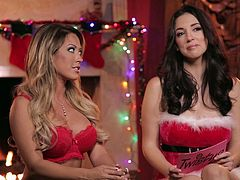 Capri and Jelena are two hot chicks, who love Santa. And that's why you can watch them dressed up as one and having a heart-to-heart about Christmas. No matter how much they pretend to not care, the truth is, they really want to see each other's sexy bodies. Watch the two of them grope each other, as they strip down.