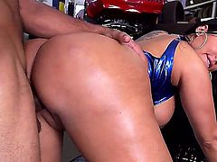 Hot bodied sexy MILF Kiara Mia with massive tits and perfect bubble butt gets her meaty pussy drilled doggy style and loves it so much. She loves getting banged hard by horny car mechanic!