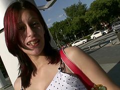 This redhead pregnant latina is picked up by Torbe and tricked into sex!