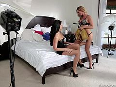 Sandy and Adriana are two hot lesbians, who love to be together. They come upon a great idea of making a video of themselves, romping on the bed. These girls are hot and they love to eat pussy. Watch them kiss and grab each other's bodies, as they prepare themselves for some hot lesbian sex. These girls will surely make you cum in your pants.