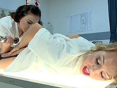 Have you got lusty fantasies with crazy lesbian nurses? Zoey gets an awful, yet exciting treatment, that involves being punished for being so slutty... Click to watch her lovely buttocks exposed, while her ass is being fisted. See Juliette, the brunette nurse, using an anal plug. Don't miss the details.