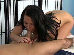 Do you ever feel like your masseur is not giving you the kind of massage you like? Not Casey. Casey is a super-professional masseur and slut, who knows what it takes to keep a client. Watch this girl do everything, to make sure her Brad comes back again. She takes his big dick in her mouth and makes sure it is hard as a rock, before it goes in her hole.